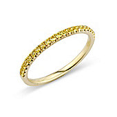 Jewelco London 18ct Gold - Yellow Sapphire Claw-set - Half Eternity Ring - Size J