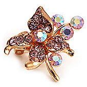 Tiny Light Pink Crystal Flower Pin Brooch (Gold Tone)