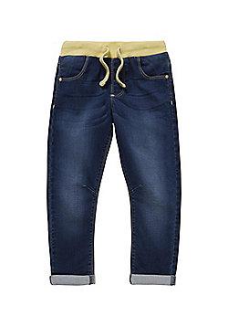 F&F Contrast Rib Waist Jeans - Blue