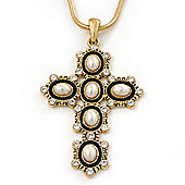 Pearl and Swarovski crystal 'Vaticana' Statement Cross Pendant and Chain (Gold Plating) - 36cm Length/ 8cm Extension