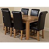 Richmond Solid Oak Extending 140 - 220 cm Dining Table with 6 Black Washington Leather Dining Chairs