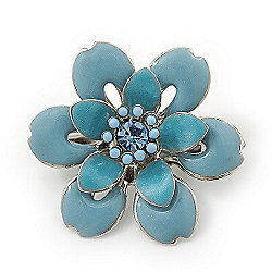 Small Light Blue 'Flower' Brooch In Silver Tone - 30mm Diameter