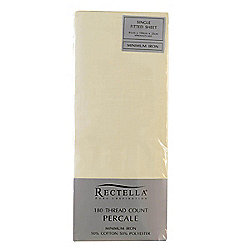 Julian Charles Percale Cream Luxury 180 Thread Count Fitted Sheet - King Size