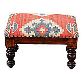 Homescapes Upholstered Kilim Solid Wood Stool Red