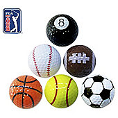 PGA Tour Novelty Golf Balls, Pack of 6