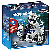 Playmobil Police Motorcycle with Officer and Lights