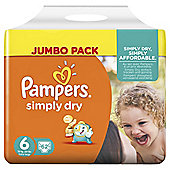 Pampers Simply Dry Size 6 Jumbo - 62 nappies