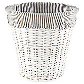 Tesco White Wicker Grey Striped Lined Bin