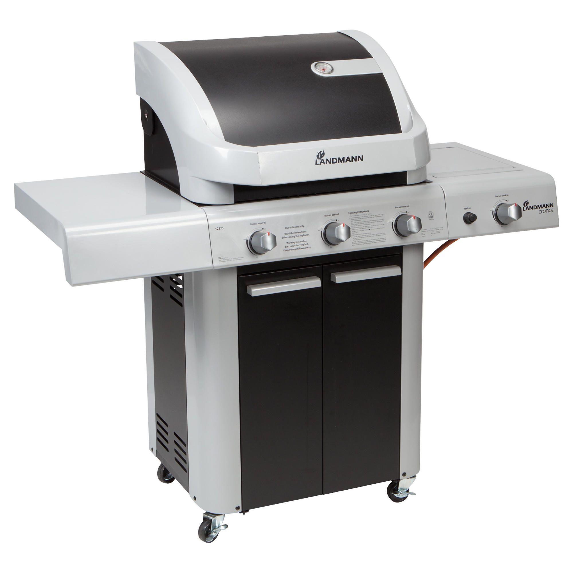 Landmann Cronos Black 3 burner + side burner and cabinet BBQ at Tesco Direct