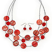 3 Strand Red Shell & Bead Wire Necklace & Drop Earrings Set In Silver Plating