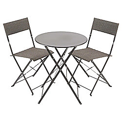 Taupe Steel & Rattan Folding Garden Bistro Set, Grey