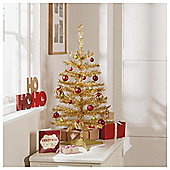 Tesco Gold Tinsel Christmas Tree, 2.5ft