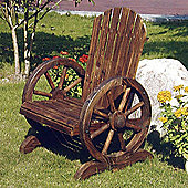 Solid Wood Garden Chair / Seat - Burntwood
