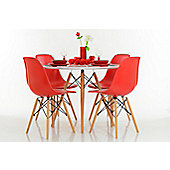 White 90cm Dining Table Set with 4 DSW Chairs
