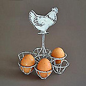Cockerel - Wire Metal Kitchen Egg / Fruit Holder - Grey / White