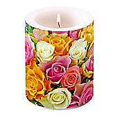 Ambiente 10 x 12cm Pillar Candle, Colourful Roses