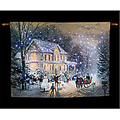 Thomas Kinkade Home for the Holidays Illuminated Hanging Tapestry