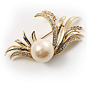 Gold Plated Delicate Faux Pearl Fashion Brooch