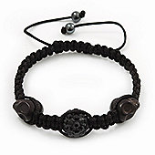 Skull & Black Crystal Beaded Shamballa Bracelet - Adjustable - 12mm Diameter
