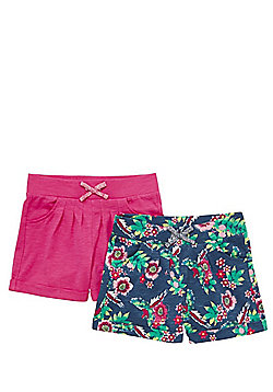 F&F 2 Pack of Floral and Plain Jersey Shorts - Blue & Pink