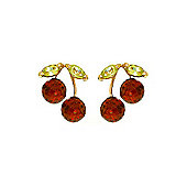 QP Jewellers Peridot & Garnet Cherry Drop Stud Earrings in 14K Gold