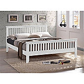 White Slatted Shaker Style Hardwood Single Bed Frame - Single 3ft