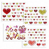 Kisses And Hearts Glitter Stickers Double Pack