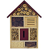 Bug - 4 Storey Solid Wood Insect / Butterfly / Bee Hotel - Brown / Red