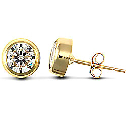 Jewelco London 9ct Yellow Gold round studs Rub-Over set with solitaire CZ stone