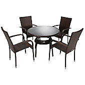 Bentley Garden Rattan Dining Set Table and 4 Armchairs Wicker Set - Dark Brown