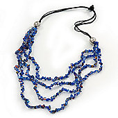 4 Strand Blue Glass Bead Black Cotton Cord Necklace - 60cm Length