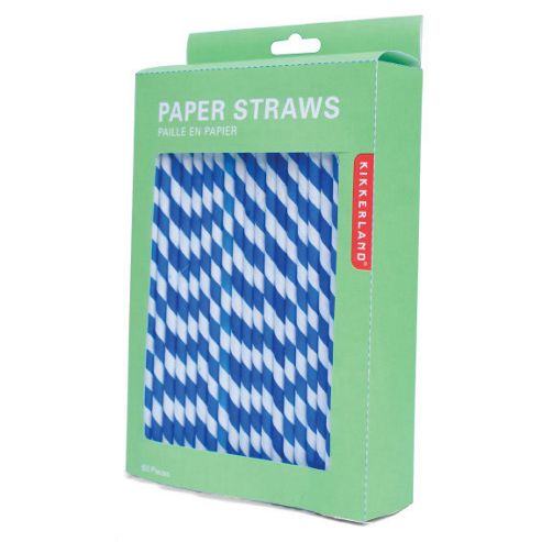 Paper Stripey Straws - Blue/White - 144pk