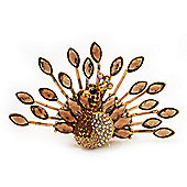 Stunning Citrine/ Amber Coloured Swarovski Crystal 'Peacock' Flex Ring In Gold Metal - 7.5cm Length (Size 7/8)