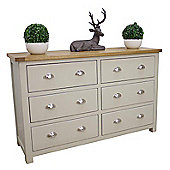 Aspen Painted Oak Sage Grey 6 Drawer Wide Chest Of Drawers