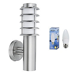 Wharf IP44 Outdoor LED Wall Lantern in Stainless Steel with Warm White Bulb