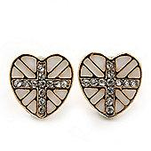Children's/ Teen's / Kid's Small White Enamel Crystal 'Heart' Stud Earrings In Gold Plating - 10mm Length