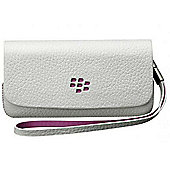 Research In Motion 31607 Leather Folio for the Pearl 9105 - White with Pink accent