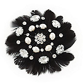 Large Simulated Pearl and Swarovski Crystal Beaded Black Feather Brooch - 10cm Length