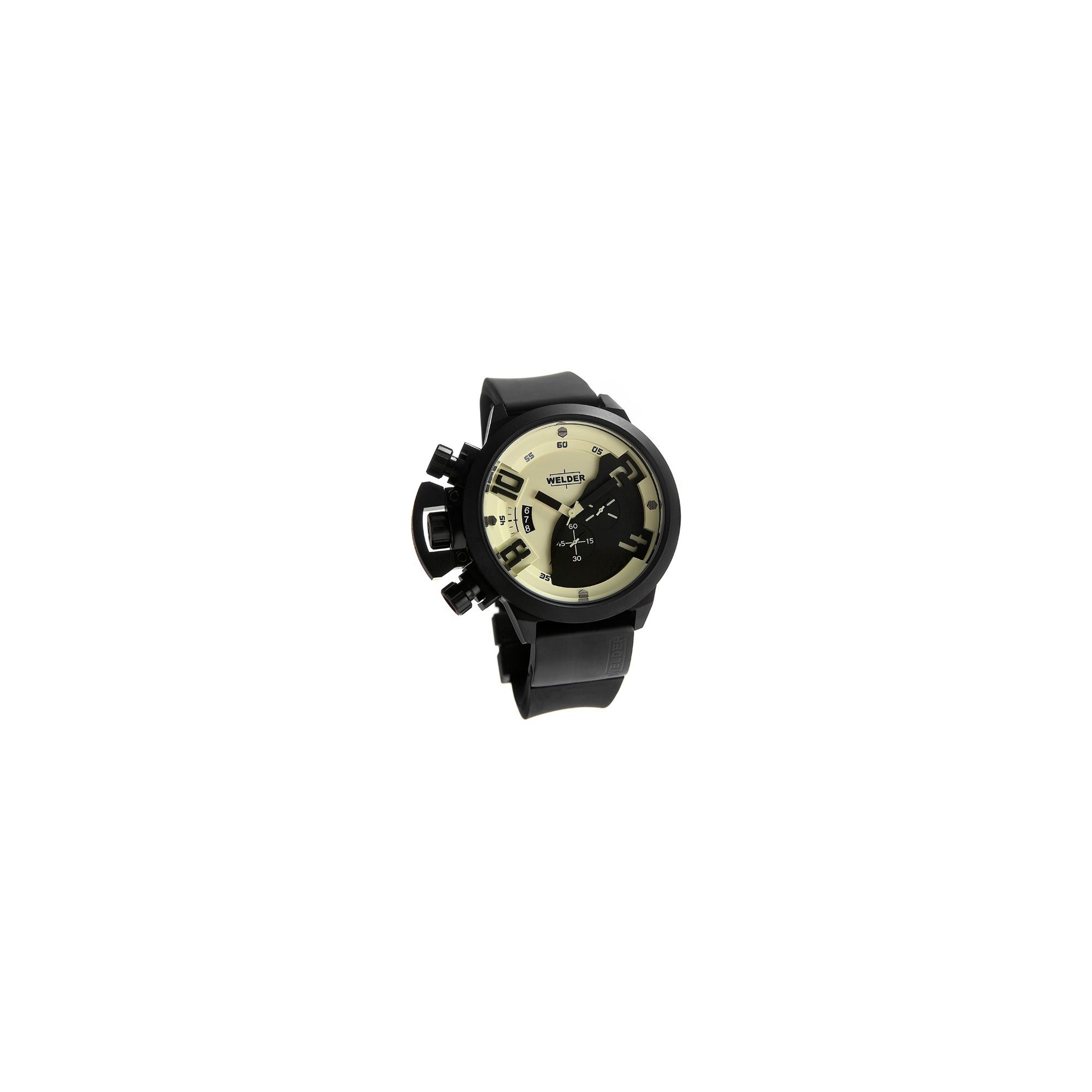 Welder Gents Cream Dial Black Rubber Strap Watch K24-3305 at Tesco Direct