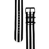 Rec Unisex Multicoloured Watch Strap 22-BLKWHT5-BLK