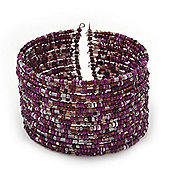 Boho Pastel Purple/Violet/Pink Glass Bead Cuff Bracelet - Adjustable (To All Sizes)