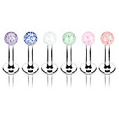 Pack Of Six Stainless Steel 1.6mm Body Piercing Labret Studs & Glitter Balls