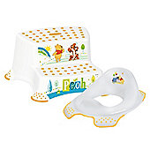 Disney Winnie the Pooh Toilet Training Seat & Double Step Stool Combo - White