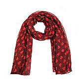 Red Heart Print Lightweight Summer Scarf