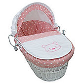 PreciousLittleOne White Wicker Moses Basket (Polka Ted Pink)