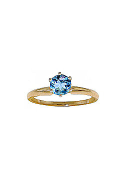 QP Jewellers 0.65ct Blue Topaz Crown Solitaire Ring in 14K Gold