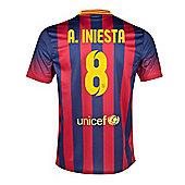 2013-14 Barcelona Home Shirt (A.Iniesta 8) - Red