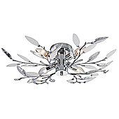 Modern Willow 4 Light Semi Flush Chrome Ceiling Light with Clear and White Leaves