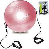 Reebok Gym Ball with Resistance Bands, Workout Chart and DVD