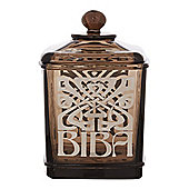 Biba Glass Smoked Glass Cotton Jar In Black New